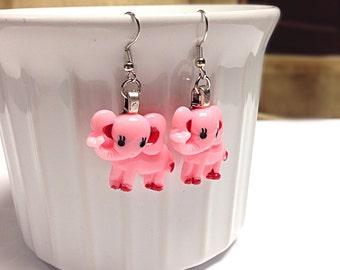 Pink elephant earrings, elephant earrings, animal earrings