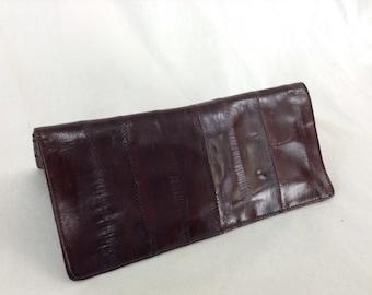 Vintage Dark Brown Eel Skin Wallet Billfold