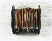 2mm Leather Cord . 9 feet . Distressed Brown . Soft Matte Finish