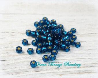 Deep Ocean Blue . 6/0 OR 8/0 Seed Bead . 20 grams . Blue Zircon . Silver Lined