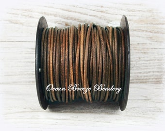 2mm Leather Cord . 25 Yard SPOOL . Distressed Brown . Soft Matte Finish