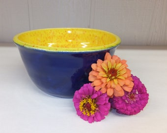 Navy Blue with Yellow Speckle Interior Pottery Bowl