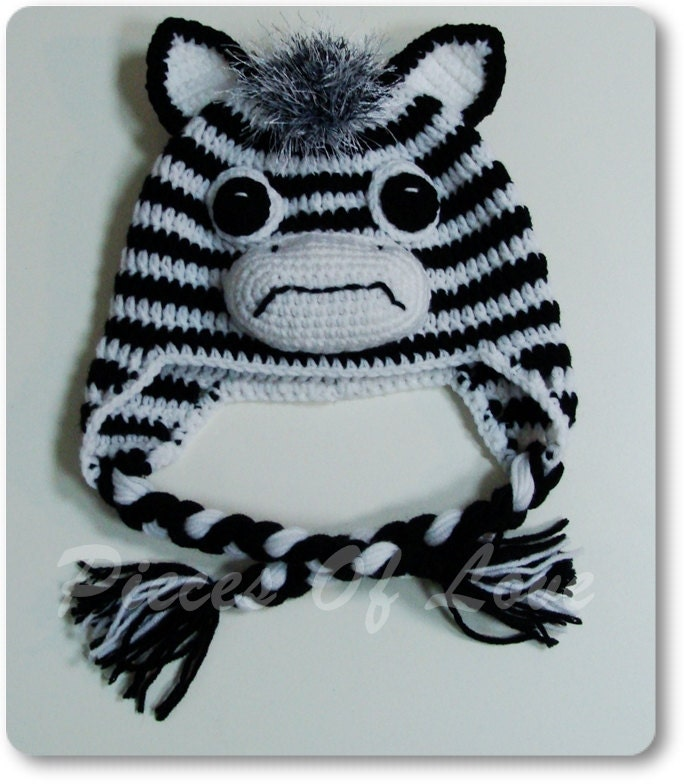 Crochet Pattern Zebra Hat : Zebra Hat Crochet Zebra Hat Crochet Hat Animal Hat Crochet