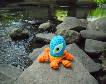 Crocheted One Eyed Squid Monster Toy