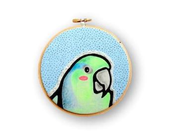 Custom Bird Portrait - Custom Pet Portrait - Hoop Art - Custom Portrait - Embroidery Hoop Art - Personalized Pet