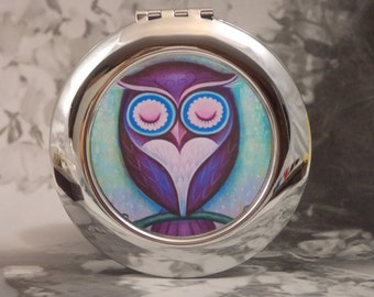 Owl Compact Mirror - Silver-tone - Mystic Owl - Includes 4X5 Silver Sparkling Fabric Bag