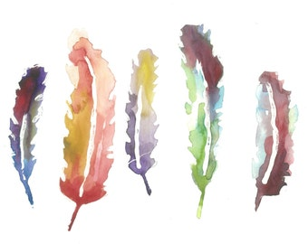 Watercolor feathers (8x10 print)