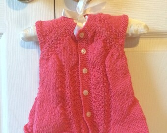 Pink Hand Knit Vest for Babies