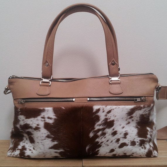 Cowhide leather handbag with Tan cowhide made with Tan and White New Zealand cowhide