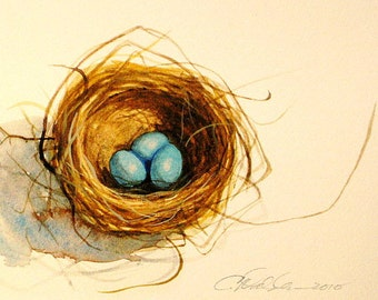 Watercolor nest of Robins eggs