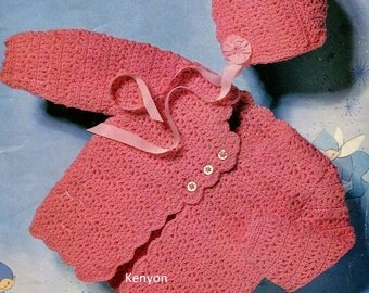"Instant CROCHET COAT & BONNET Pattern Newborn to 12 Months (2 sizes 18-20"") Dk - Vintage Baby Pdf Pattern - Instant Download Kenyon 0241"