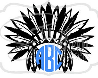Indian Native American Headdress Monogram Decal