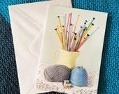 Knitting themed image greetings card. Knitting needles. Needle gauge. Wool holder. Vintage knitting card. Knitting Lovers. Yarn Lovers.