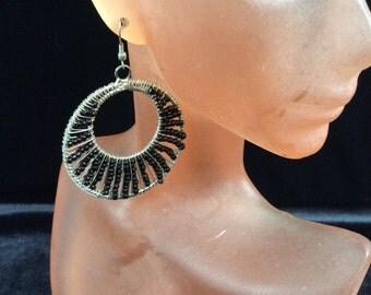 Vintage Dangling Black Glass Beaded Earrings