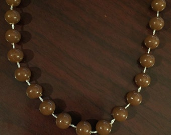 Brown Plastic Beaded Necklace (#0)
