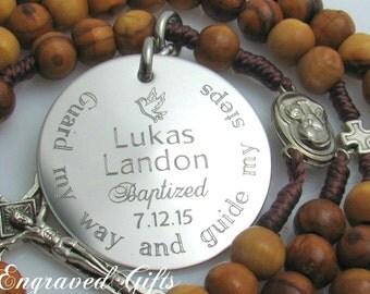 Unique Baptism Gift for Godparents, Personalized Godparents Gift, Baptism Gift Boy, Confirmation Sponsor Gift, Rosary Medallion Keepsake Z1