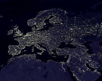 Europe at Night-  Photo Print