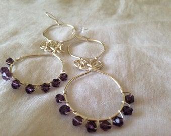 Silver wire bead earrings, purple bead earrings. Handmadebyjeanie