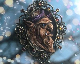 RETIRING - Miniature Hand Sculpted Beast Pendant with Chain and Color Changing Swarovskis