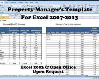 Property Manager's Template, Managing Rental Property