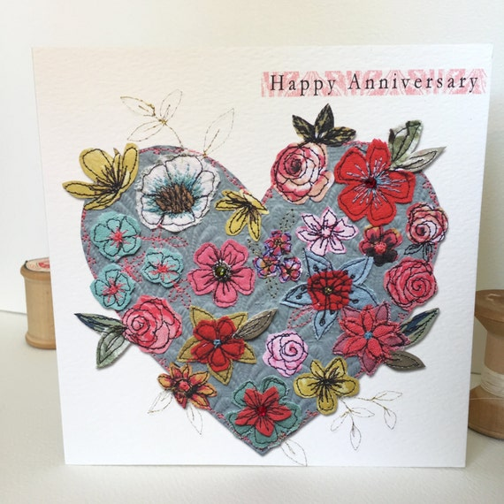 Anniversary Heart-Greeting Card- handfinished
