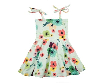 Baby Toddler Dress with Circle Skirt in Blue Garden Floral Print Girls