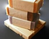 Cedar Soap Dish and 3 Bars of Homemade Soap