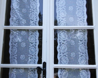 Pretty Lace Curtains French Vintage Cafe Floral Rose Pattern panels curtains available