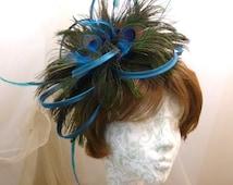 Peacock feather & Teal loops and feathers headband Fascinator Headpiece Mini Hat Wedding Races alternative summer rustic romantic beach