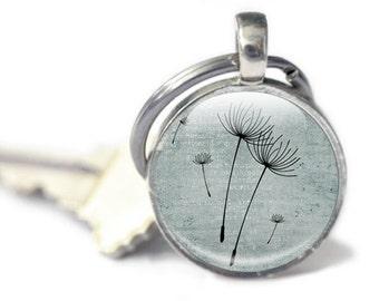 Dandelion Keyring, Key chain, Dandelion Keychain, Blue Gray background, dandelions in the wind, dandelion keyring, Grey dandelion wish