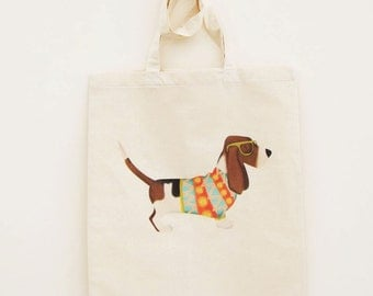Cotton Tote Bag Bassett Hound Illustration - Custom Name Personalised Canvas Cotton Tote Bag - Write Any Name