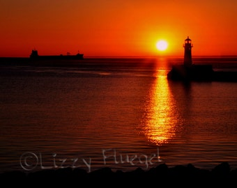 Morning Break 8x10 Fine Art Photography Print of Duluth Sunrise by Lighthouse