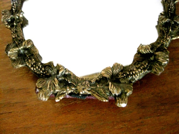 Metal Frame Oval Mirror Small Tropical Decor Gold Floral