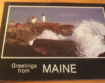 Vintage Original nubble light greetings from maine Postcard Free Shipping