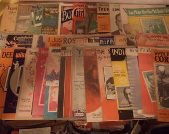 97 Different Sheet Music 1920's 1930's 1940's 1950's Mixed Lot