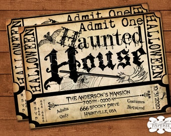 halloween haunted house ticket invitation, handmade digital invite, halloween party vintage invitation, halloween invite - DIY PRINTABLE