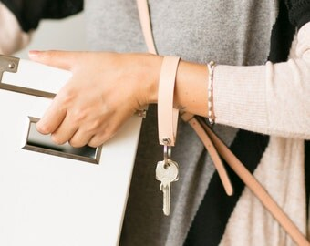 Wristlet Leather Keychain, Veggie Tan leather