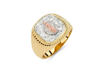 14K Tricolor Our Lady of Guadalupe Mens Ring, Religious Jewelry, Gold Guadalupe, Guadalupe, Guadalupe Ring, Religious Ring, Mens Ring