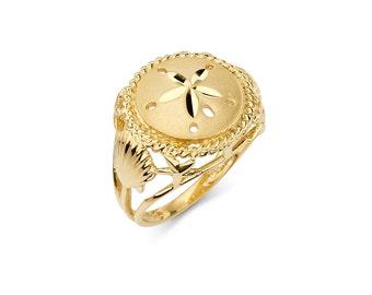 14K Gold Sand Dollar Ring, Gold Ring, Sand Dollar Ring, Sand Dollar Jewelry, Nautical Ring, Nautical Jewelry, Beach Jewelry