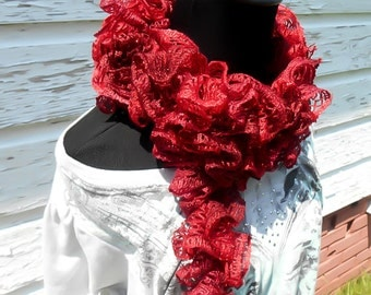Womens Red Crochet Scarf, Sashay Scarf, Bohemian Scarf, Boho Scarf, Ruffle Scarf, Bohemian Clothing, Girls Accessory, gift for her