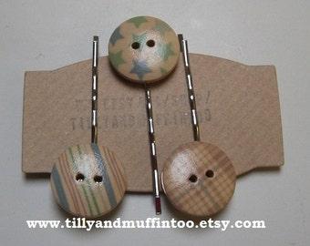 Handmade Wooden Button Bobby Pins, Hair Grips,Hair Slides,Hair Pins.Stars,Stripes & Checks.Party Favor, Wedding,Stocking Filler/Stuffer.
