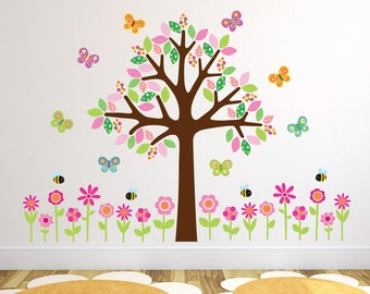 Tree With Flowers, Butterflies and Bees Wall Stickers, Girls Tree Wall Decals, Flower Wall Art - Removable and Repositionable - FA134