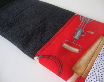 Decorative Kitchen Dish Towels - Fabric Trimmed Hand Towel - Tea Towel - Bath Hand Towel - Black Dish Towel - Red Retro Towel