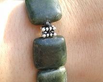 True Nephrite Jade Power Bracelet, Spinach Jade, Deep Forest Green, Chinese Jade, Good Luck, Dream Stone, Real Jade, Rare