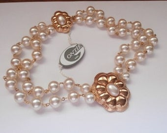 Signed Gontie Paris 2 Strand Pearl Necklace 3157 Gold Plated Setting New