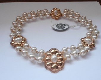 Signed Gontie Paris 2 Strand Pearl Necklace 3158 Gold Plated Setting New