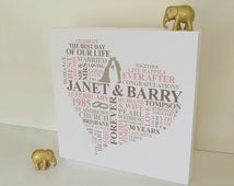 ... Anniversary gift. Personalised Word Art. Unique anniversary gift. 30th