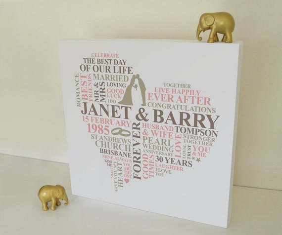 Wedding Anniversary Gifts 30 Years: 30 Years Wedding Anniversary Canvas. Pearl Anniversary Gift
