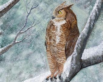 Christmas Gift, Owl, Great Horned Owl, Giclee Print, Wildlife, Nature, Wall Decor, Origianl, Winter Scene, Woods, Forest, Bird, Fine Art
