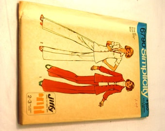 Vintage 1970s Simplicity 6790 Button up Jacket and pant pattern 2 style blouse pattern